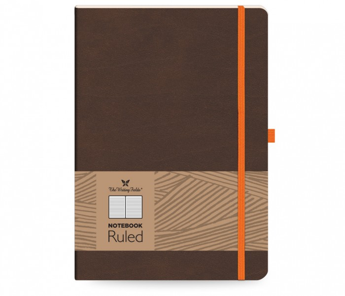 Leather Notebook Ruled Large Brown