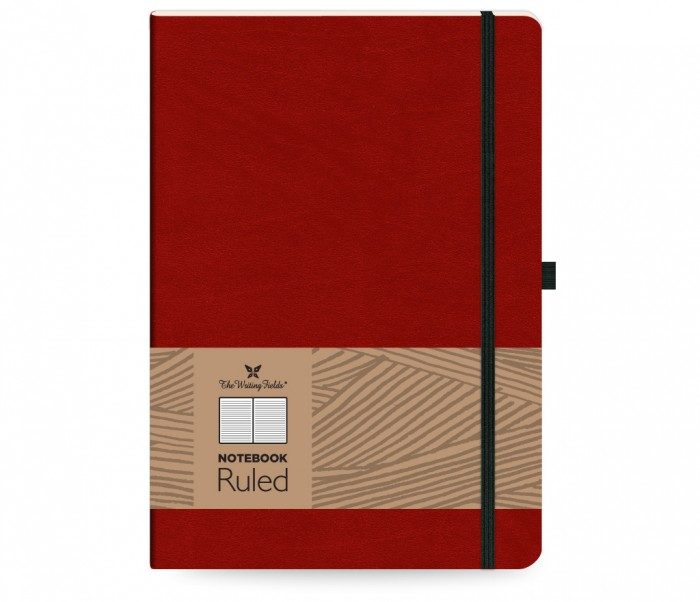 Leather Notebook Ruled Large Red