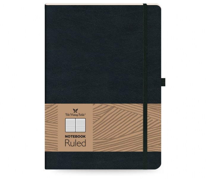 Leather Notebook Ruled Large Black