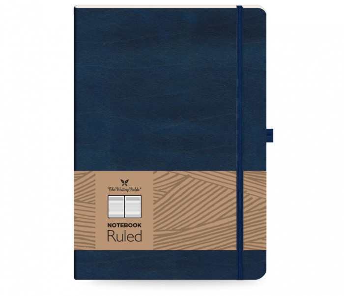 Leather Notebook Ruled Large Blue